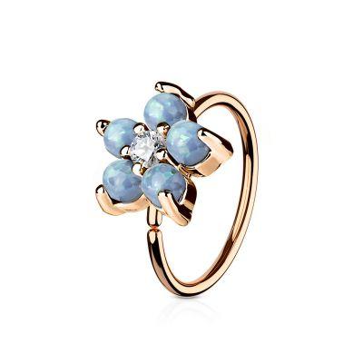 Lillega rõngas kaunistatud opaali kivikestega